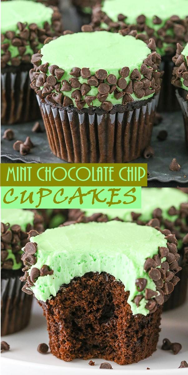 MINT CHOCOLATE CHIP CUPCAKES #Cupcakesrecipes