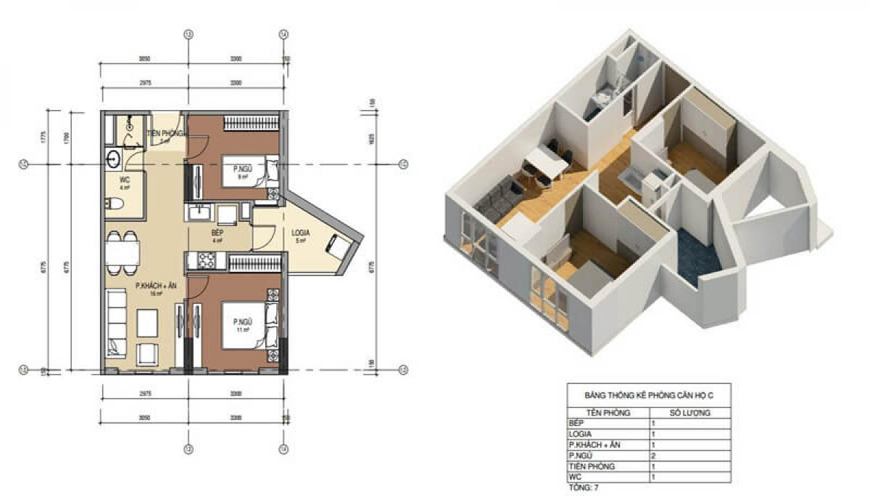 Thiết kế căn hộ số 3 chung cư Bình minh garden