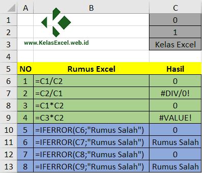 Contoh Fungsi IFERROR Excel