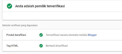 tag html terverifikasi di google search console