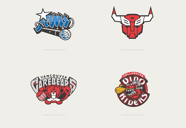 Basketball Teams x 80's Toons by Vanila Lab logos
