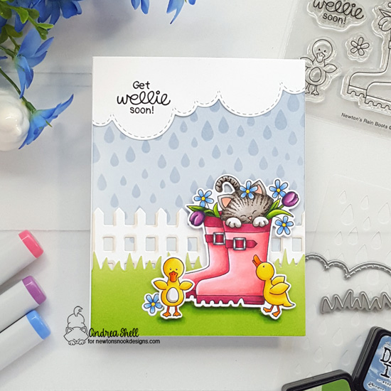 Spring kitty in Rain boots Get Well Card by Andrea Shell | Newton's Rain Boots Stamp Set, Fence Die Set, Land Borders Die Set, Sky Scene Builder Die Set and Raindrops Stencil by Newton's Nook Designs #newtonsnook #handmade