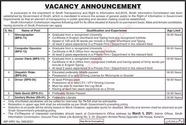 Government of Sindh Information Commission Jobs 2021 - Govt of Sindh Jobs 2021