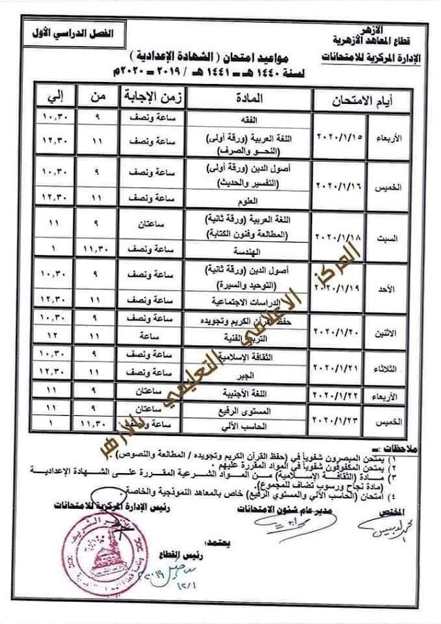 جدول امتحانات الشهادة الاعدادية الأزهرية الترم الأول 2020