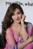 Actress Angela Krislinzki in Pink Saree Blouse Exclusive Pics March 2017 ~  017.JPG