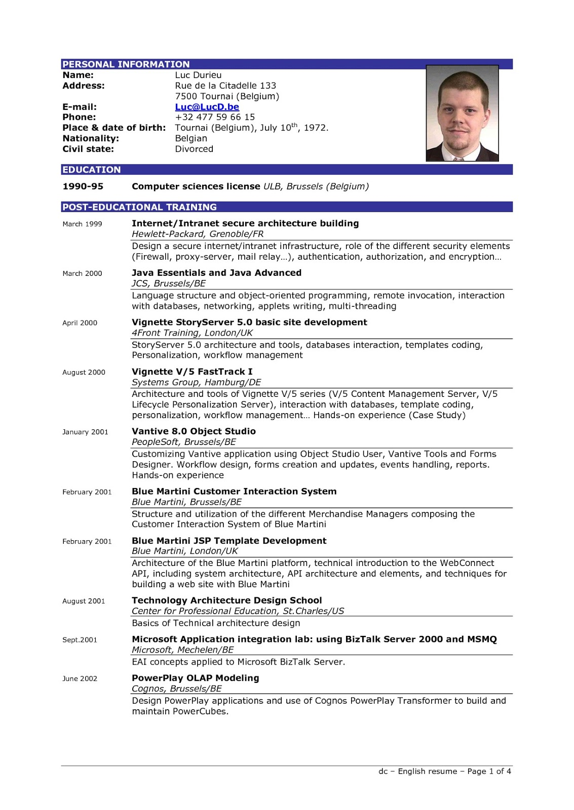 resume template with picture