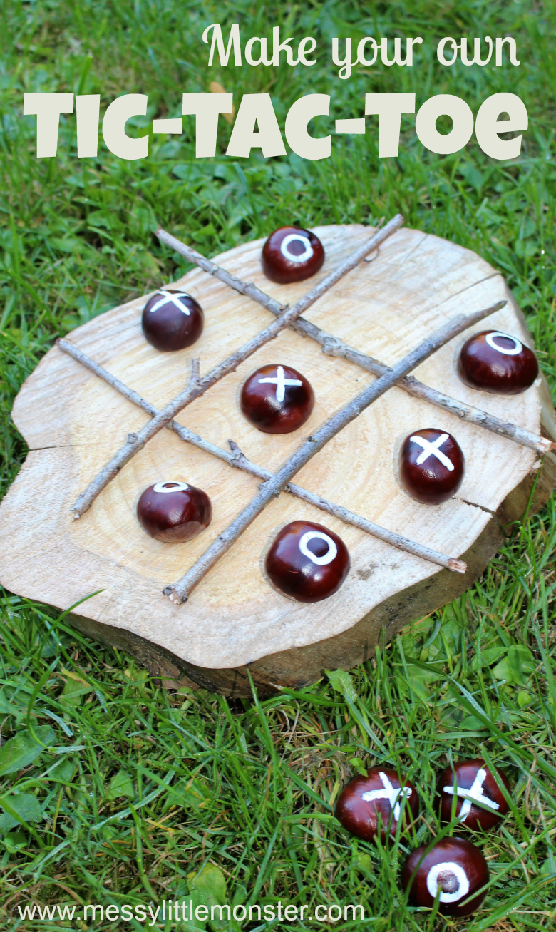 Making your own DIY Tic-Tac-Toe game is such a fun nature craft for kids! Follow our easy instructions to make your own naughts and crosses backyard games using conkers, sticks and a wood slice!