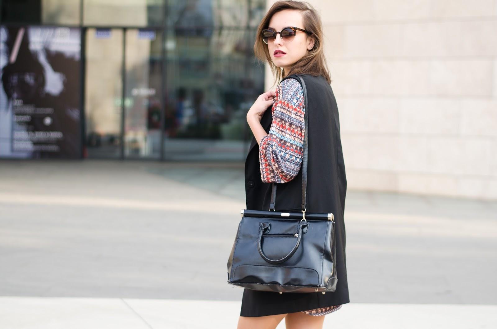 Boho pattern dress, black vest, laced up high heels