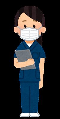 紺色のスクラブを着た医療従事者のイラスト(女性)