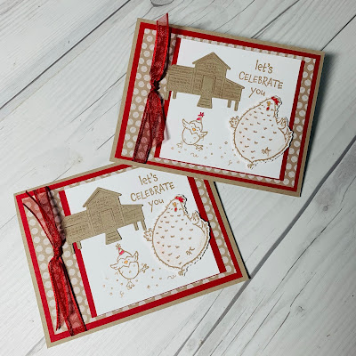 Two Birthday cards using images from the Hey Birthday Chick Stamp Set