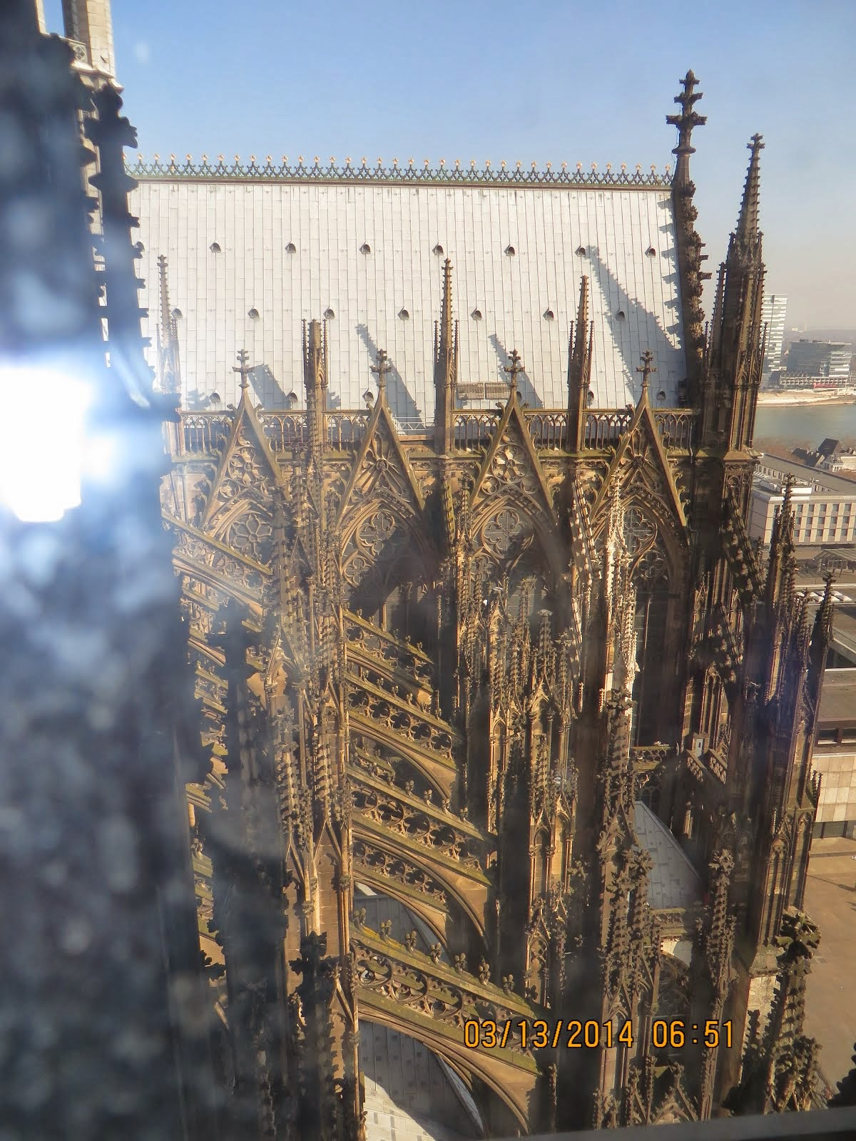 Cologne Cathedral from roof level, with buttresses, half way to top of towers