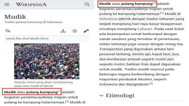 """BuzzeRp Berusaha Mengubah Definisi """"Mudik"""" di Wikipedia Dengan Menghilangkan Kata """"Pulang Kampung"""""""