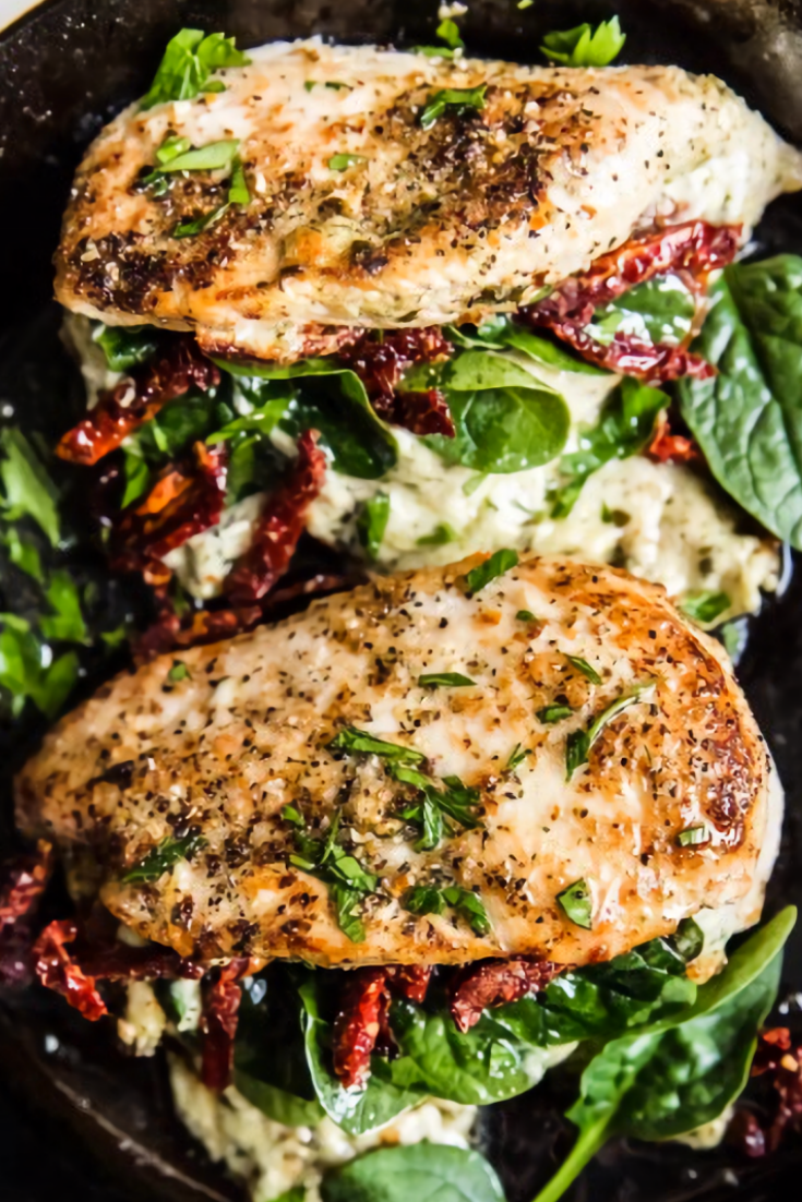 Stuffed Chicken Breast with Spinach, Cheese and Sun-Dried Tomatoes