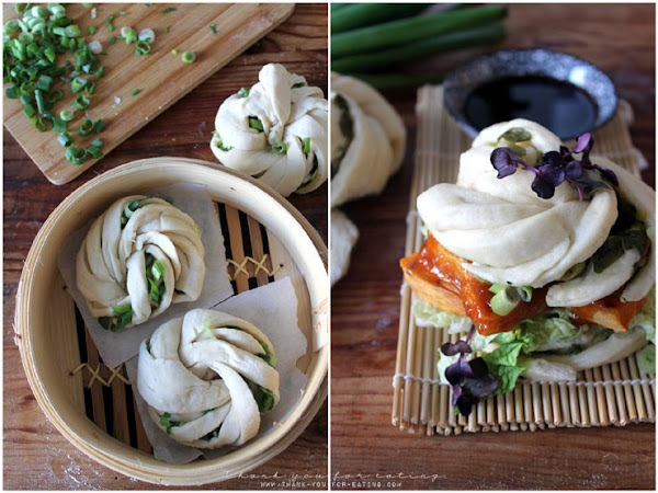 Veggie Burger Deluxe: Hua Juan Buns mit scharfem Tofu und Süßkartoffelspalten