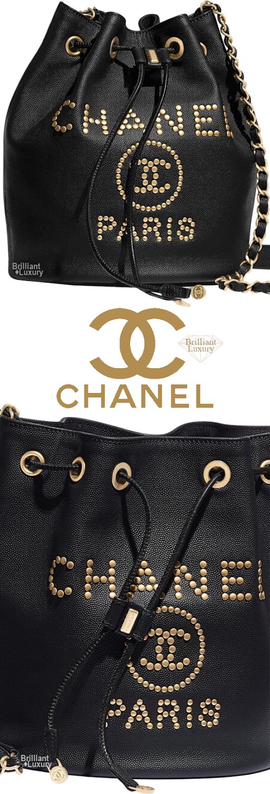 Brilliant Luxury♦Chanel Studded Drawstring Bag #black #gold #accessories