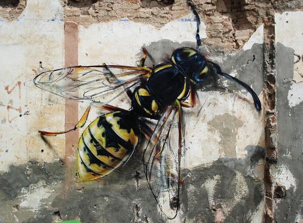 Grafiti atau Lukisan Dinding lalat dan lebah