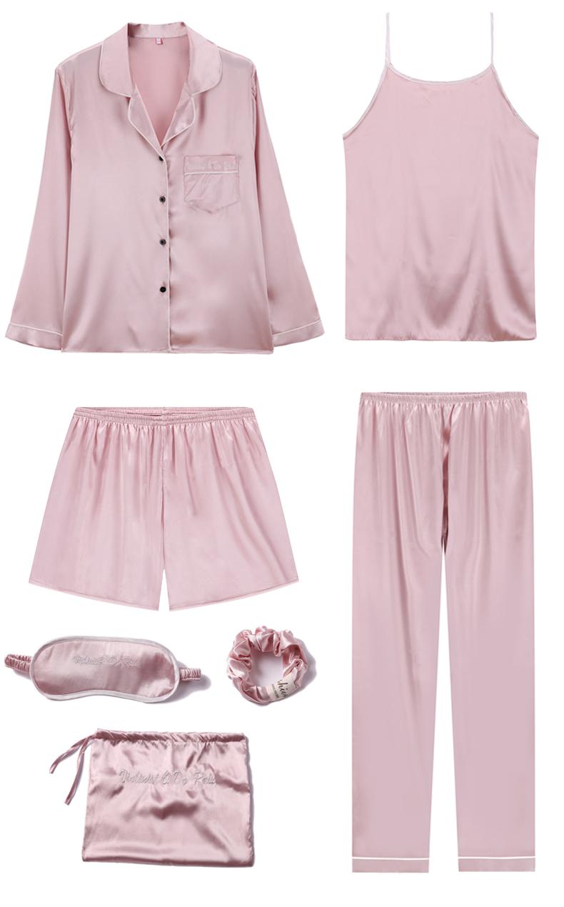 Bộ Pijama ngủ 7 chi tiết bằng lụa mặc nhà dễ thương 7