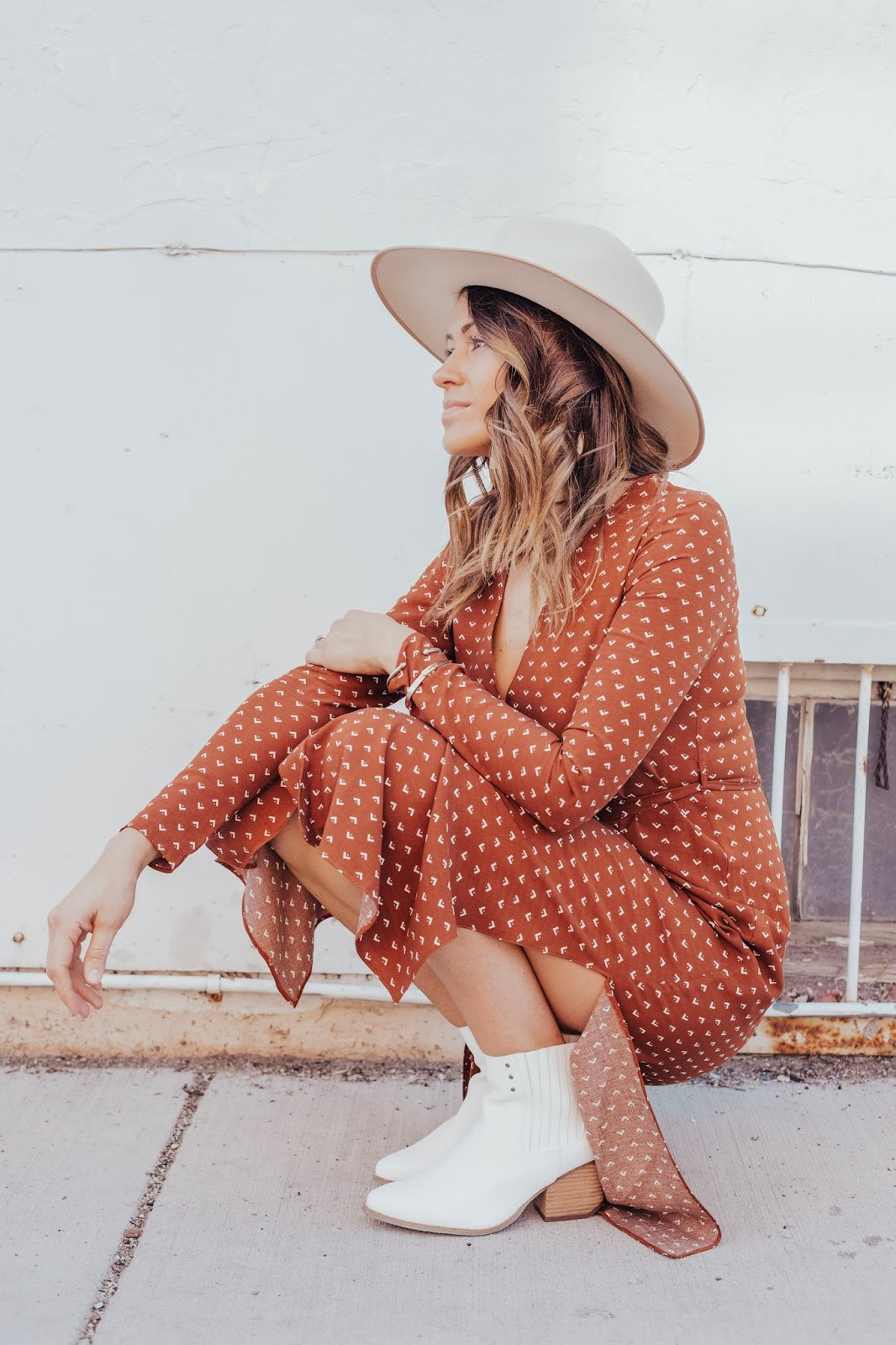 white hat rust dress white booties