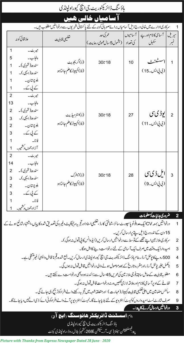 Join Pakistan Army Civilian 2020 DHQ Rawalpindi Housing Directorate Jobs 2020