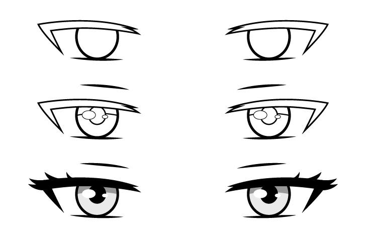 Mata peri anime menggambar langkah demi langkah