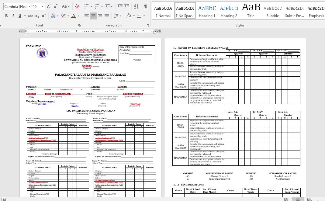 Alpabetong Filipino Worksheet For Grade 1 : Reconstructed k 12 form 137 [as of 02 07 2016] deped tambayan ph
