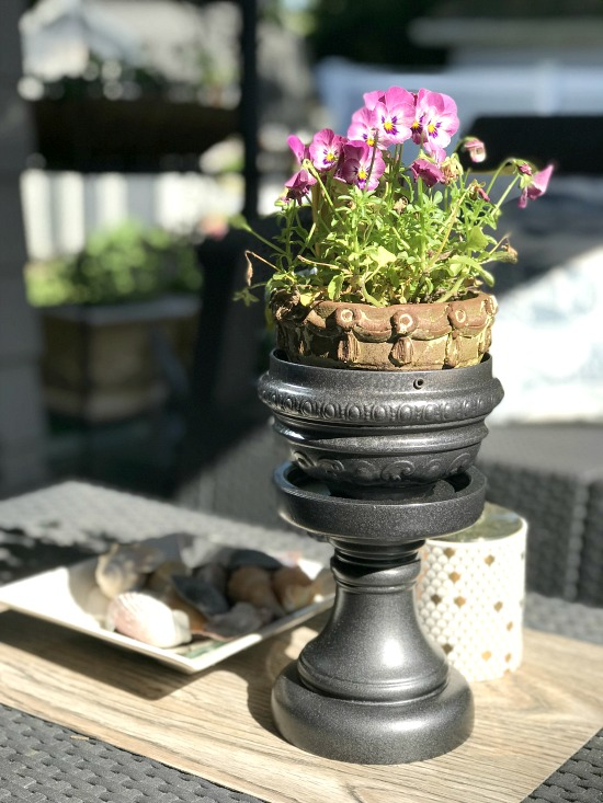 DIY Repurposed Pedestal Planter