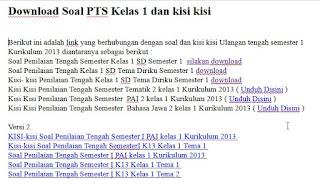 Soal PTS Kelas 1 K13 dan kisi kisi