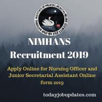 NIMHANS Recruitment 2019