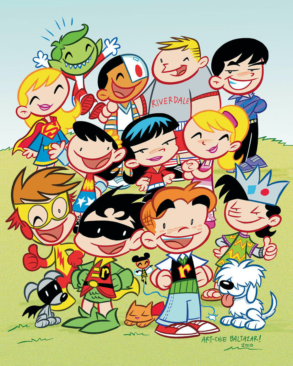 Robin, Kid Flash, Wonder Girl, Supergirl, Beast Boy, Cyborg, Bumblebee, Ace the Bat-Hound, and Streaky the Supercat with Little Archie, Jughead, Betty, Veronica, Reggie, Moose, and Hot Dog