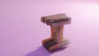 how to make money 3d origami alphabet I easy hướng dẫn cách gấp chữ I bằng tiền giấy