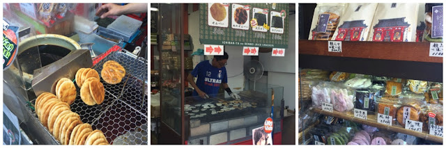 Fresh senbei being made on Nakamise St near Sensoji temple, Asakusa