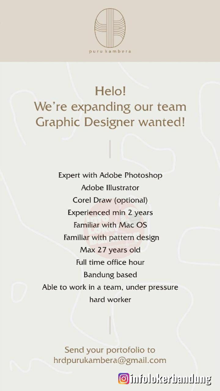 Lowongan Kerja Graphic Designer Puru Kambera Bandung Juli 2019