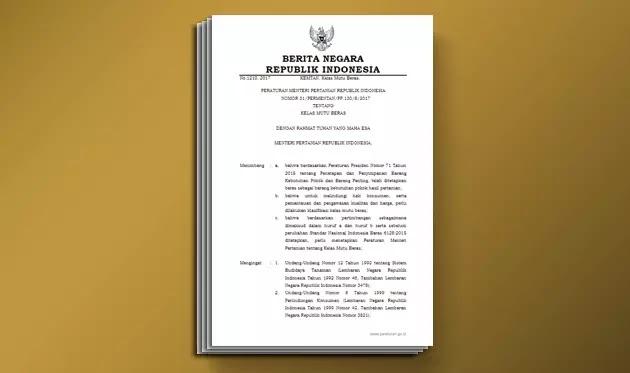 Permentan Nomor 31 Tahun 2017 tentang Kelas Mutu Beras