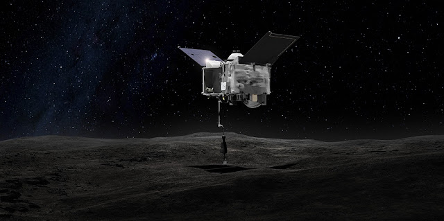 This artist's concept shows the Origins Spectral Interpretation Resource Identification Security - Regolith Explorer (OSIRIS-REx) spacecraft contacting the asteroid Bennu with the Touch-And-Go Sample Arm Mechanism or TAGSAM. The mission aims to return a sample of Bennu's surface coating to Earth for study as well as return detailed information about the asteroid and it's trajectory.Credits: NASA's Goddard Space Flight Center