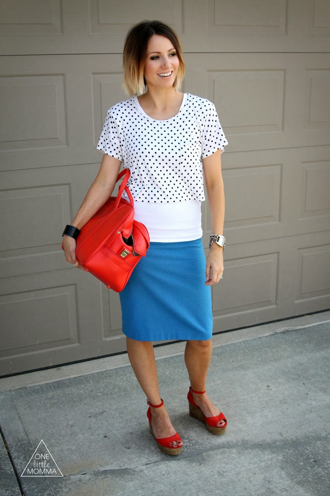 Polka dot top, blue pencil skirt and red platform sandals