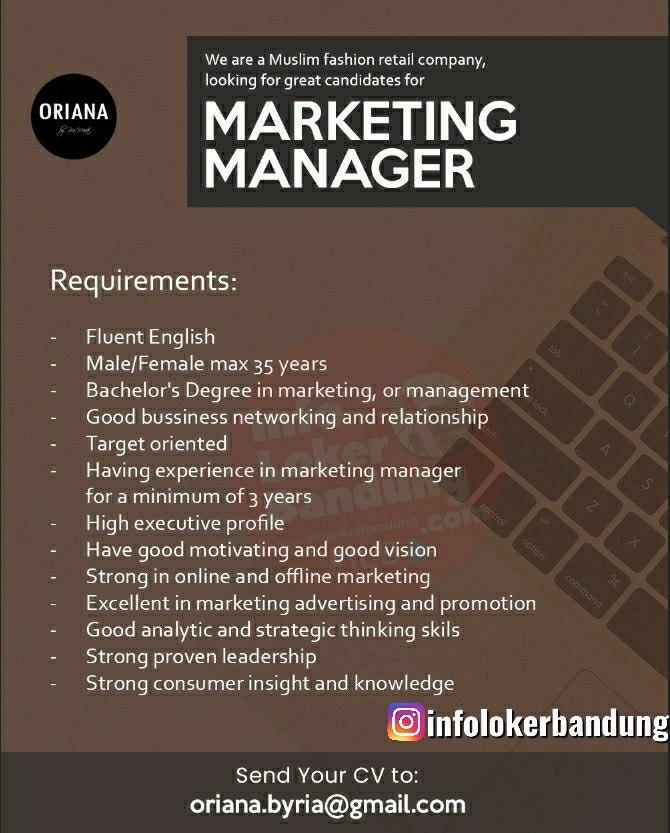 Lowongan Kerja Marketing Manager Oriana Boutique Bandung Juni 2020