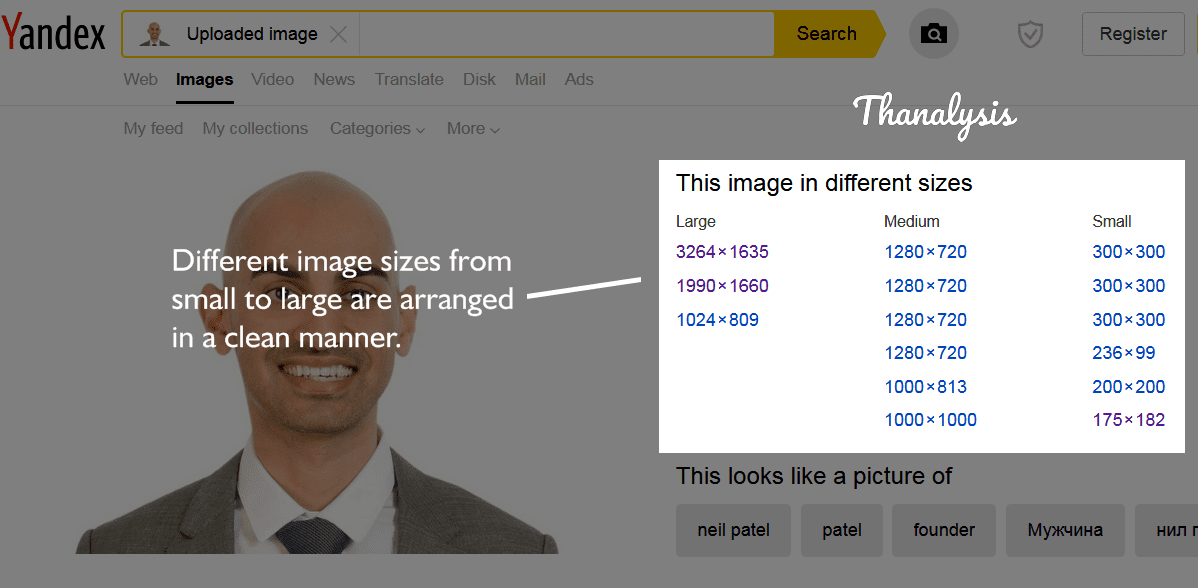 Reverse Image Search on Yandex has resulted all the possible image sizes in a well arranged manner.