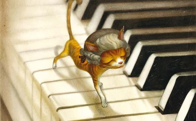 Ilustración Mozart Retratos Gatunos Lacombe