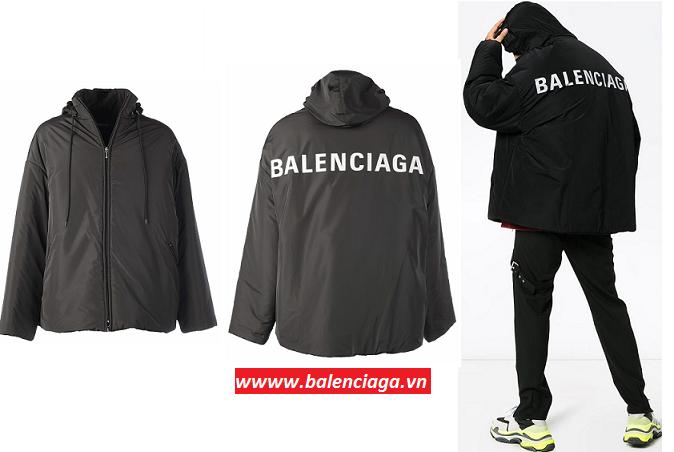 Áo khoác nam Balenciaga Black Large Logo Jacket hàng hiệu 100%