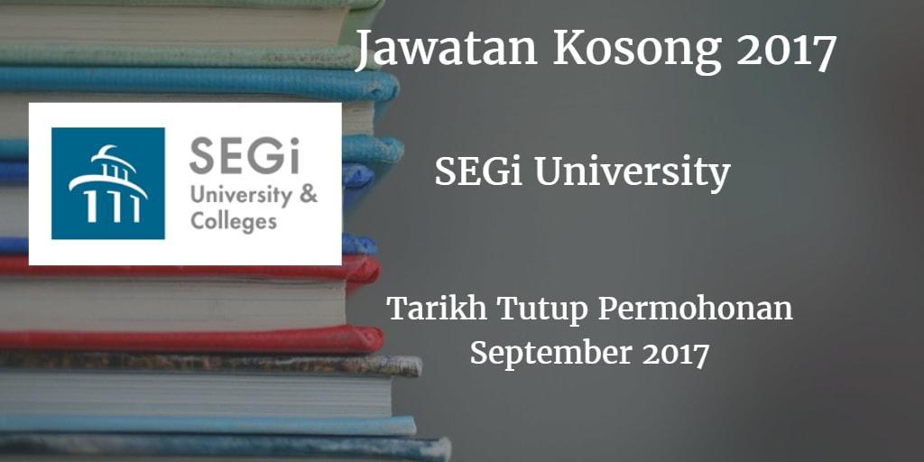 Jawatan Kosong SEGi University September 2017