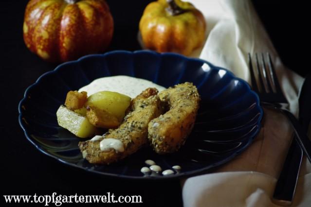Kürbis in Kürbiskernparnier mit Kartoffeln und Sauce Tartare - Foodblog Topfgartenwelt