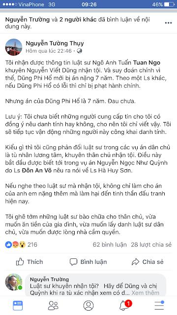 Nguyễn Tường Thụy tố LS Ngô Anh Tuấn khuyên Dũng Phi Hổ nhận tội