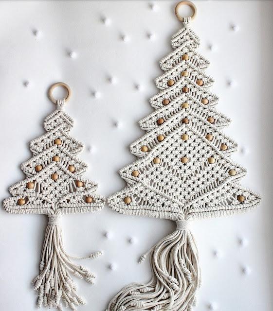 árvore de Natal de parede crochê