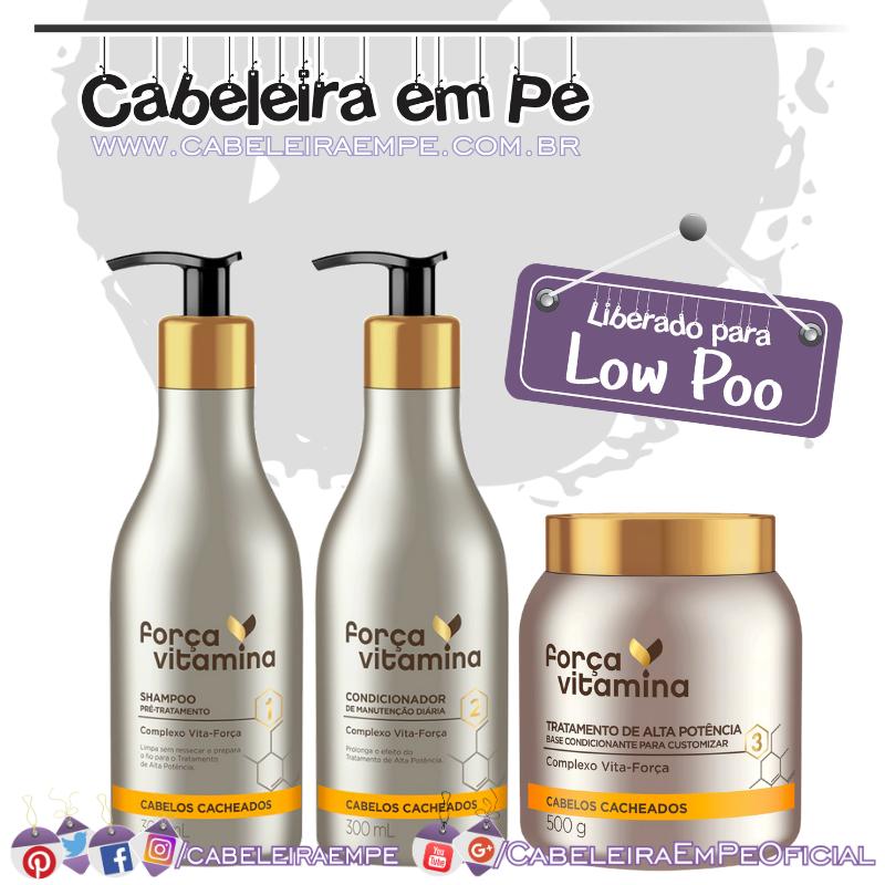 Shampoo, Máscara e Condicionador Cacheado - Força Vitamina (Low Poo)