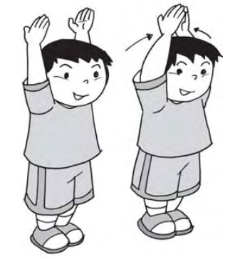 Berdiri tegak mengangkat lengan