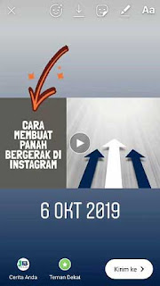 cara membuat tanda panah bergerak di instagram