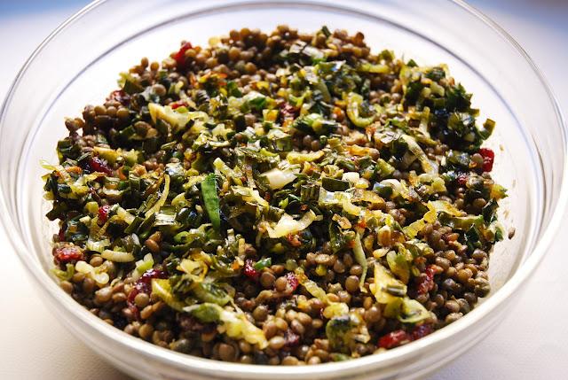 Salade de lentilles aux cranberries et cébettes