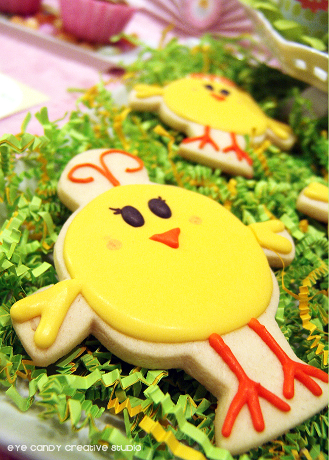 little chicks easter cookie, the sweetest thing cookies, easter cookies