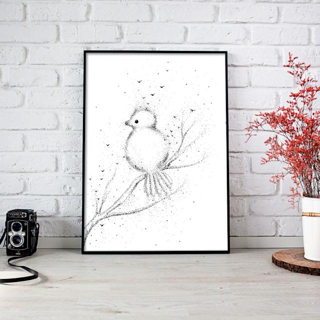 Doodle Little Bird Artwork