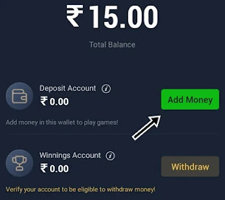 paytm first game me cash deposit ke liye add money par click kare